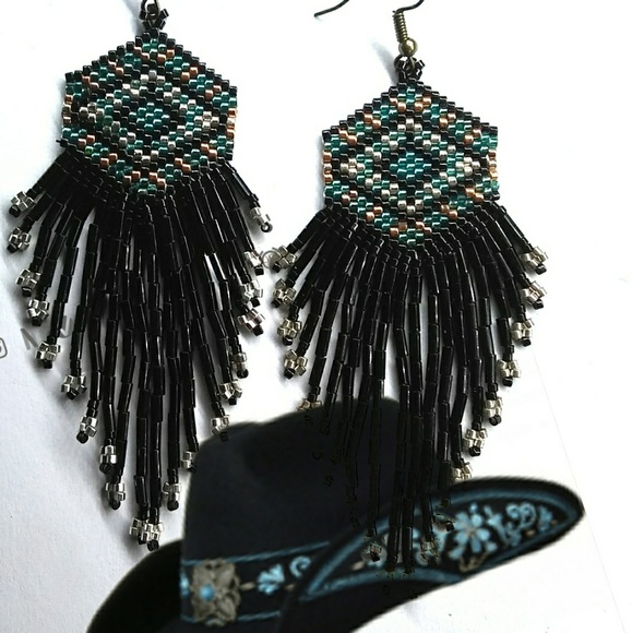 Jewelry - Black and Silver Beaded Statement Earrings